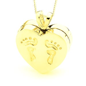 Image of Heart Locket with Baby Feet Imprint - 9ct Yellow Gold