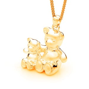 Image of Bears of Hope Pendant (3D) - Small in 9ct Solid Yellow Gold