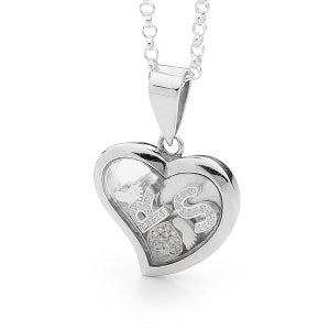 Image of Custom Letters Heart Pendant - Sterling Silver with Sterling Silver Feet & Heart with Cubic Zirconia