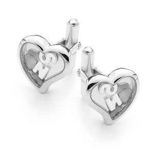 Image of Custom Letter, Heart Cufflink - Sterling Silver with Sterling Silver Feet & Heart