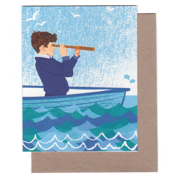 Image of Boy In Boat Greeting Card