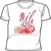 "Image of ""Leaves & Lives"" T-Shirt (White/Red)"