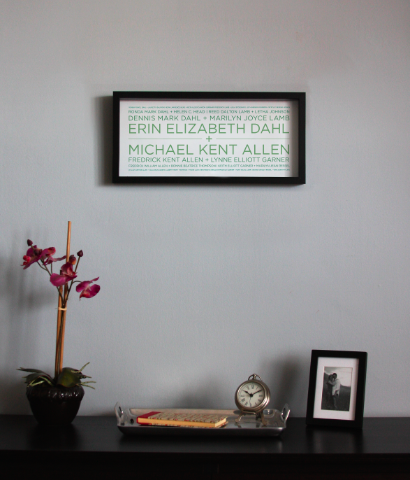 """Image of 4 Generation Lineage+ Family Tree 19¾""""x9"""" with sans serif typeface"""