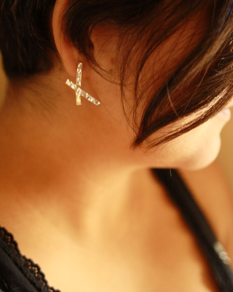 Image of funky 'x' marks the spot earrings