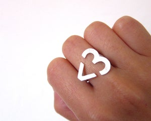 Image of I Heart You <3 Heart Ring -  emoticon heart text heart - Silver Ring