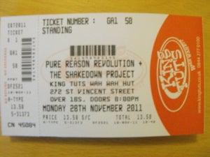 Image of Glasgow, King Tuts. Gig Ticket. 28th November 2011