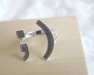 Image of Wink Smile Happy Face Ring ;) - Handmade Silver rings