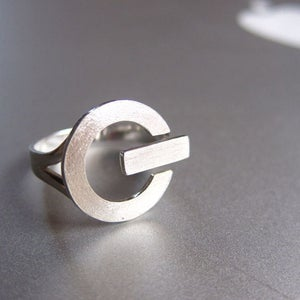 Image of POWER Button - Handmade Silver Ring