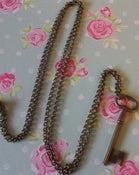 Image of Vintage Large Key Charm Pendant Necklace