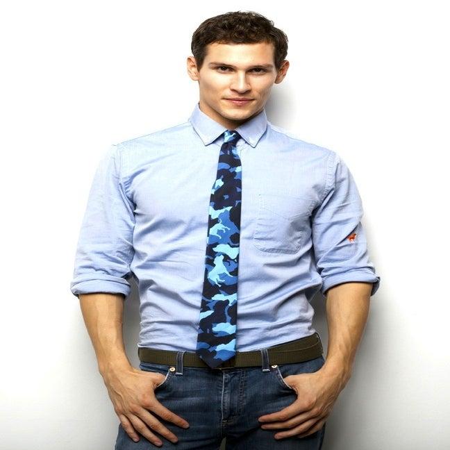 Image of blue tiny tim camou cotton skinny tie