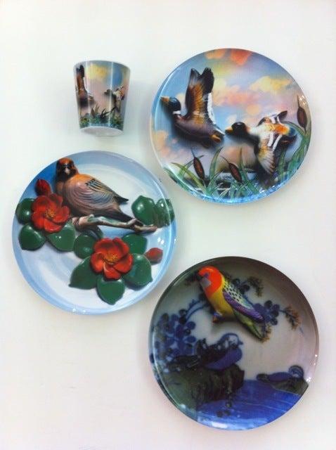 Image of set of 3 bird plates