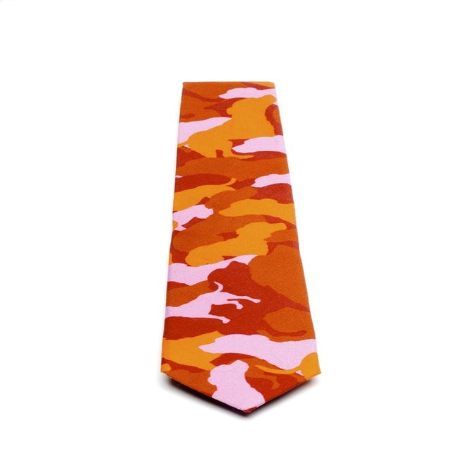 Image of pink tiny tim camou cotton skinny tie