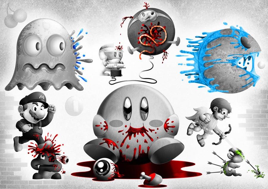 Image of 8 bit fatality Mashup Print Mono