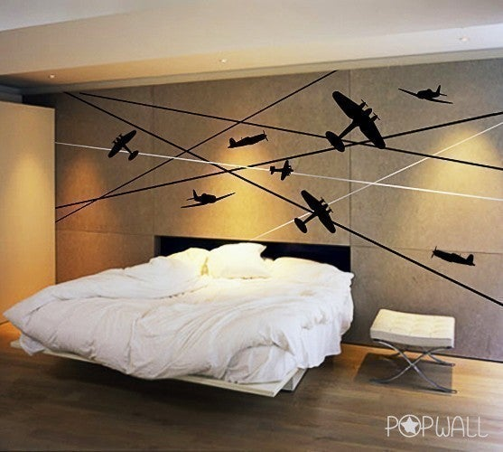 War Planes Battle Planes  011 Vinyl sticker wall decal children adults playroom \u2014 Removable