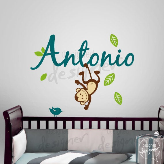 custom girl boy children wall decal sticker tree decal name with monkey dd1063 removable. Black Bedroom Furniture Sets. Home Design Ideas