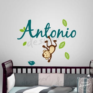 Image of Custom Girl Boy Children Wall Decal Sticker tree decal - Name with Monkey - dd1063