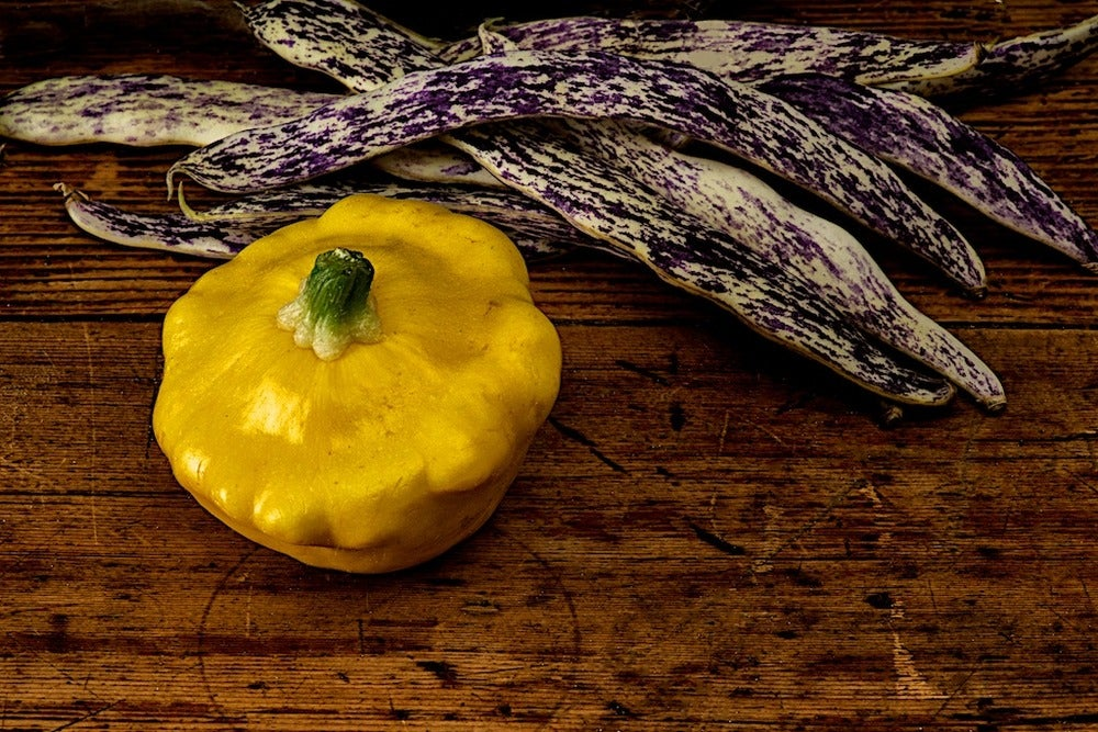 Image of Dragon's Tongue beans, Pattypan squash