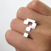 Image of Block Question Mark Ring - Handmade Silver ring