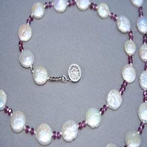 Image of Fresh Water Coin Pearls with Garnet Stones