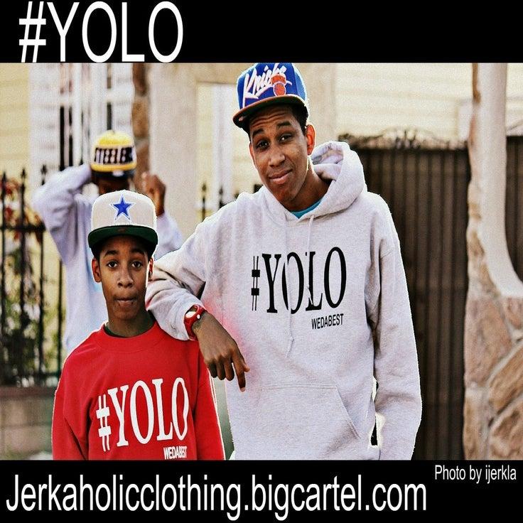 Image of GREY #YOLO HOODIE WITH BLACK PRINT