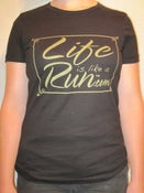 Image of Women's Black Fitted T with Metallic Gold Logo