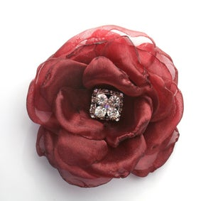 Image of Organza Flower in Cranberry