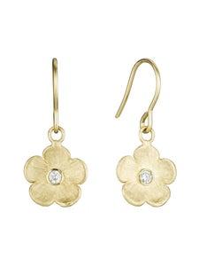 Image of Petunia Earrings with Rose Cut Diamond, 14K Yellow Gold