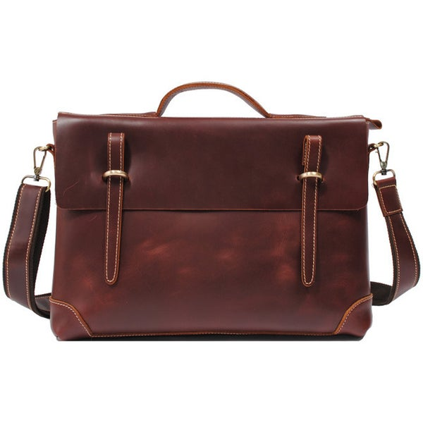 "Image of Handmade Leather Briefcase / Messenger / 13"" 14"" Laptop 13"" 15"" MacBook Bag in reddish brown (n04R)"