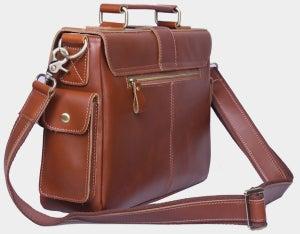 """Image of Handmade Genuine Leather Briefcase / Messenger / 11"""" MacBook 12"""" Laptop Bag in reddish brown (n20-4)"""