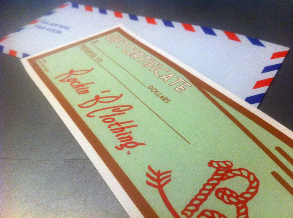 Image of Gift Certificate for $25, $50 or $100