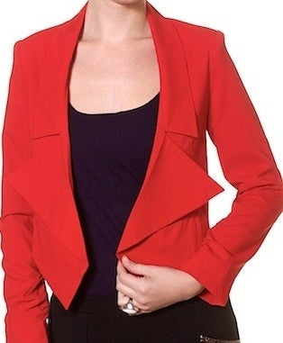 Image of red cropped open front blazer