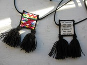 Image of Embroidered Tassel Folk Scapular Pendant, Triangles Pattern