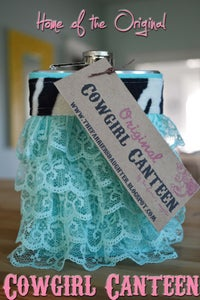 Image of Aqua Lace Cowgirl Canteen™ Designer hip flask for women