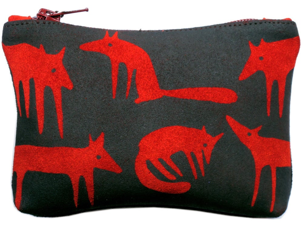 Image of Suede Red Fox Purse Medium
