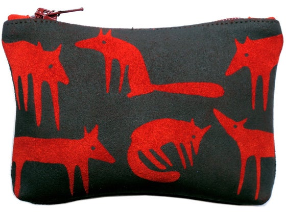 Image of Suede Red Fox Purse Medium