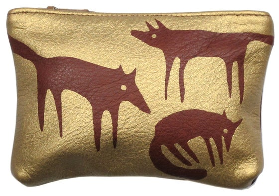 Image of Brown & Gold Foxes Purse Small