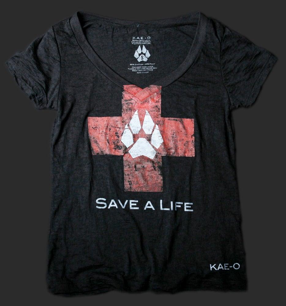 Image of Save-A-Life Women's Burnout V-Tee - Black