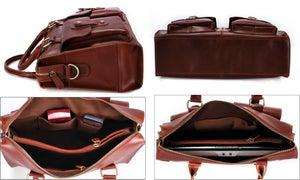 Image of Handmade Genuine Leather Briefcase Laptop Messenger Bag in reddish brown Hard Cowhide (n22)