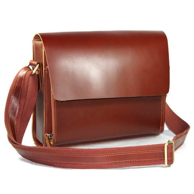 Image of Handmade Genuine Leather Messenger Satchel Bag / Case in reddish brown Smooth Cowhide (n52)