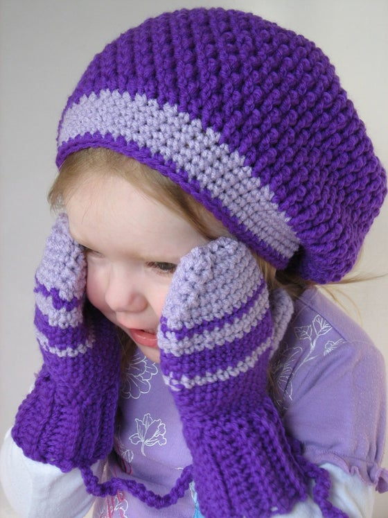 Image of Kids Slouchy Beret & Mittens on a String Crochet Pattern Set