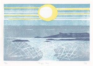 Image of Eigg Sun, Hand printed, Limited Edition Woodcut
