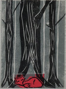 Image of Red Fox Woodcut