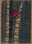 Image of Red Squirrel Woodcut Print