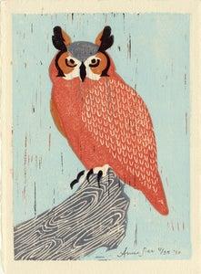 Image of GREAT HORNED OWL hand-pulled linocut illustration art print