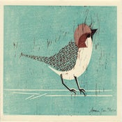 Image of HOUSE SPARROW hand-pulled linocut illustration art print