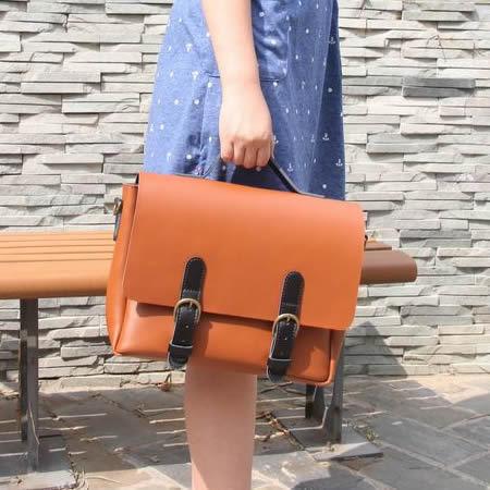Image of Handmade Noble Genuine Leather Handbag Satchel Messenger Bag in Brown with Black - Unisex (m24)
