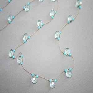 Image of Light Blue Quartz Drops with Turquoise