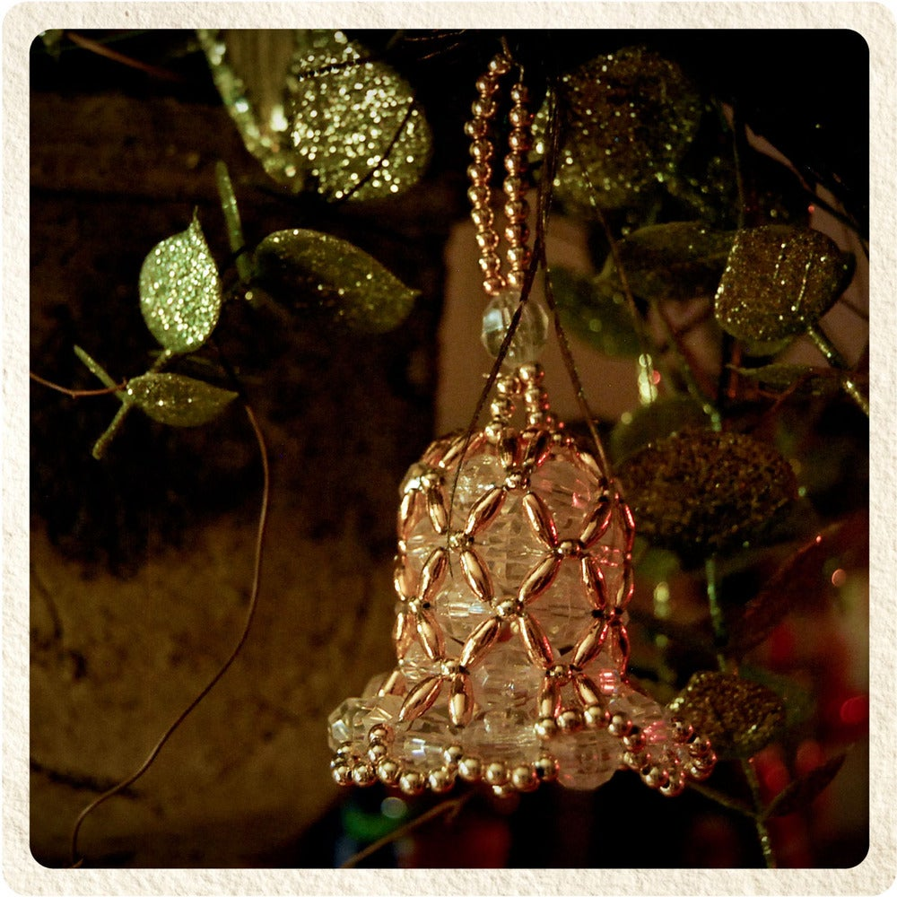 Girlscout dropout — hand beaded christmas bell ornament