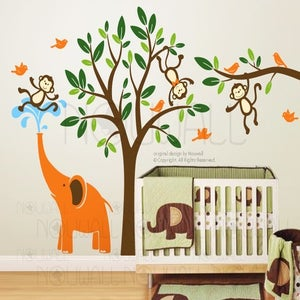 Kids wall decal wall sticker nursery decal art monkeys for Funny elephant wall decals for nursery