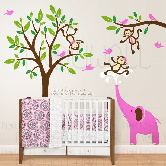 Kids Wall Decal Wall Sticker Nursery Decal Art  Monkeys U0026 Elephant Having  Fun Together   105   Child
